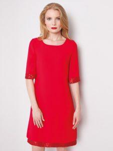 Trapezowa sukienka FOSTER Potis&Verso w kolorze czerwonym.