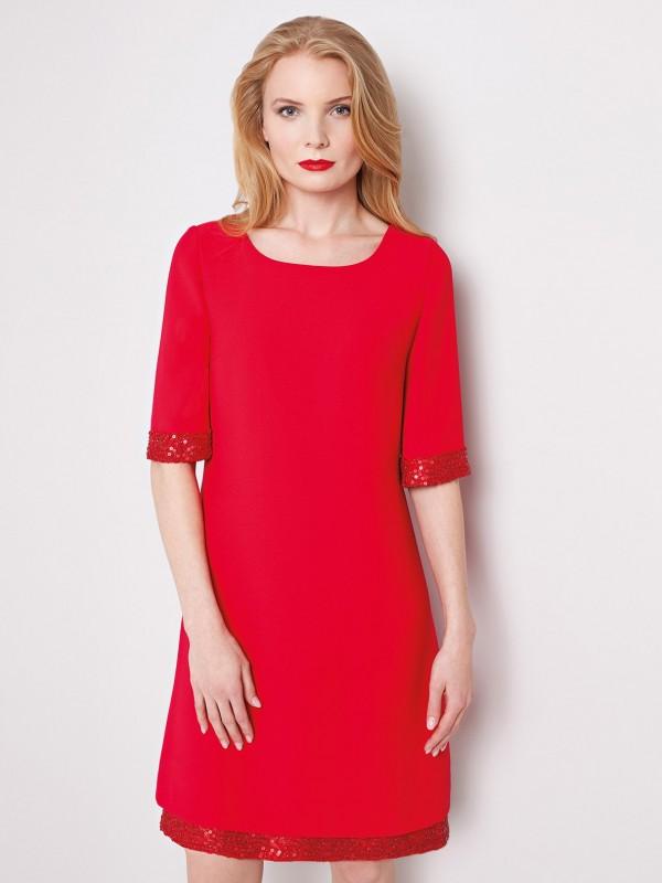 Trapezowa sukienka FOSTER Potis&Verso wkolorze czerwonym.