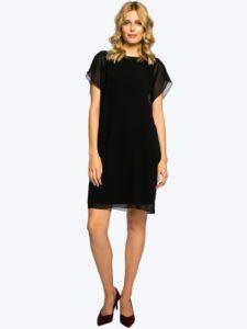 Czarna sukienka PIRELI Potis&Verso zkryształkami Swarovskiego narękawach. Mała czarna.