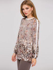 Brazowo-szara bluzka KRUE odmarki L'AF trendy modowe