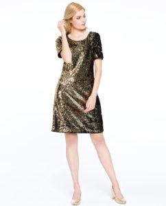 Złota, błyszcząca, cekinowa sukienka FONTE Potis&Verso