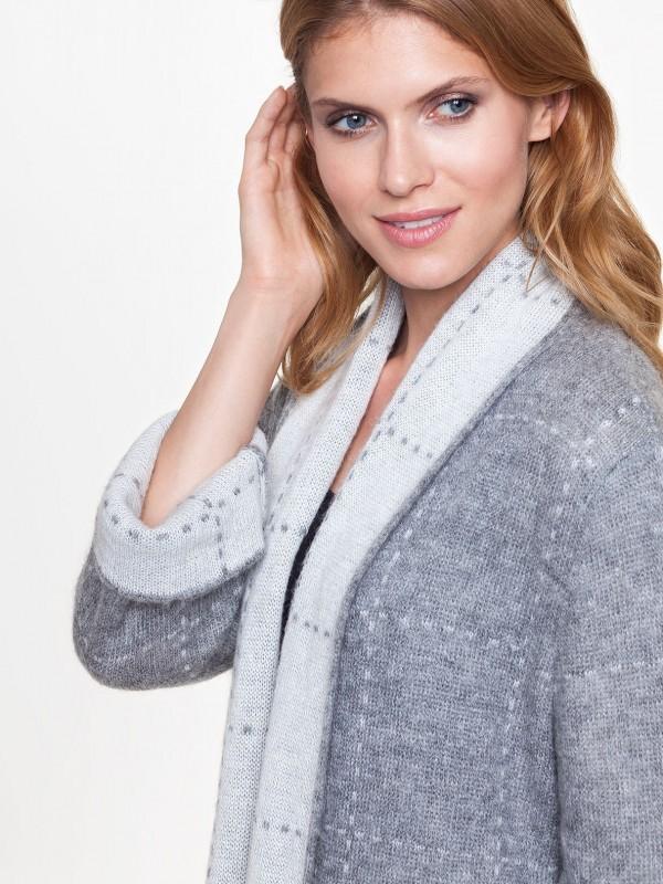 Sweter zdodatkiem moheru WELL odL'AF zbliska. Idealny sweter zamiast płaszcza.