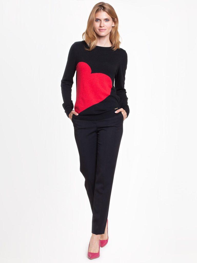 Sweterek HEARTH L'AF zsercem, czarno-czerwony