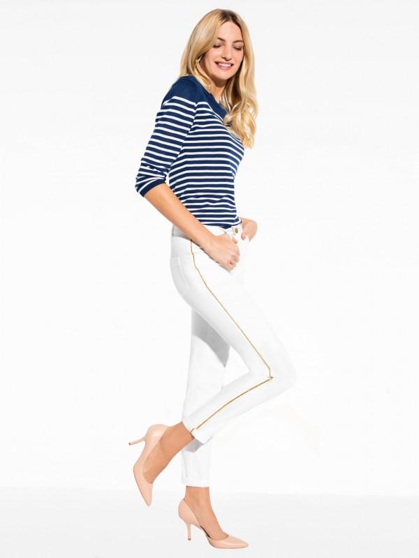 Białe spodnie zezłotymi lampasami AMOS L'AF