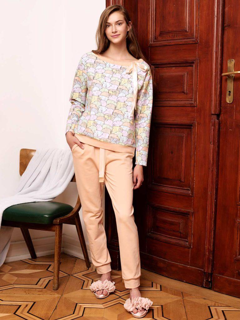 Pastelowa piżama zmotywem słoników l'af